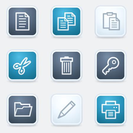 Document web icon set 1, square buttons