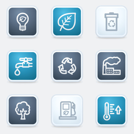 Ecology web icon set 1, square buttons Vector