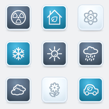 Ecology web icon set 2, square buttons Stock Vector - 25495268