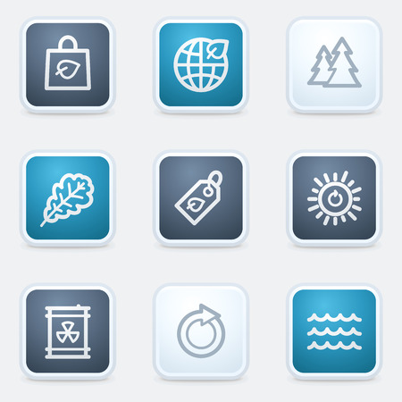Ecology web icon set 3, square buttons Vector