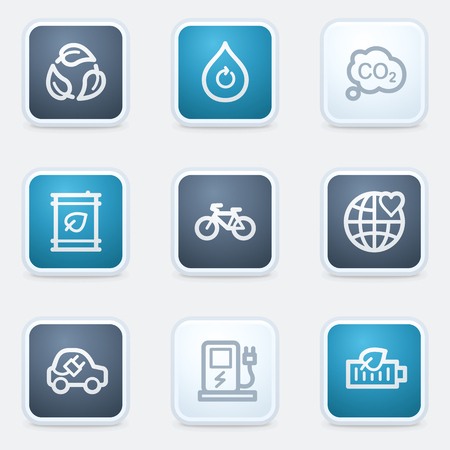 electro world: Ecology web icon set 4, square buttons