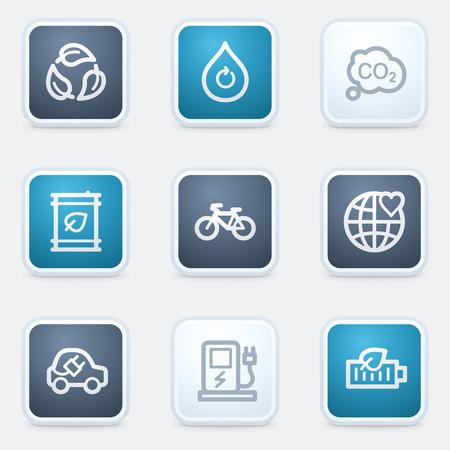 Ecology web icon set 4, square buttons
