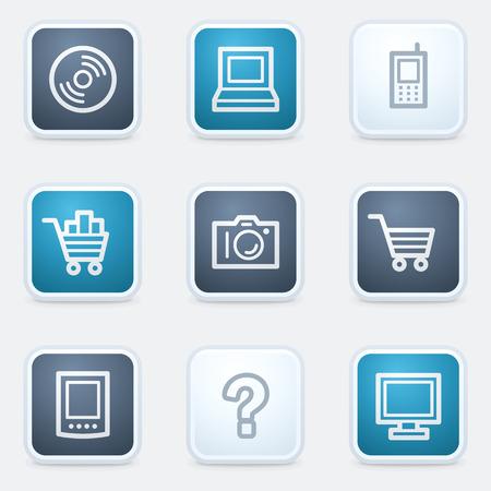 Electronics web icon set 1, square buttons