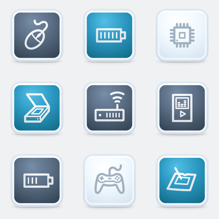 Electronics web icon set 2, square buttons Vector