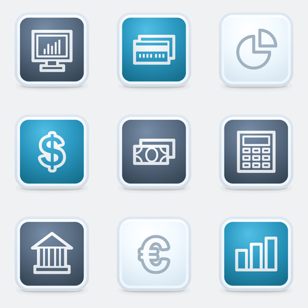 Finance web icon set 1, square buttons Vector