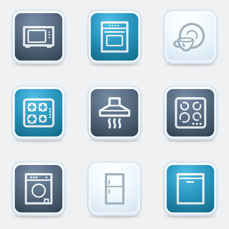 Home appliances web icon set, square buttons Vector