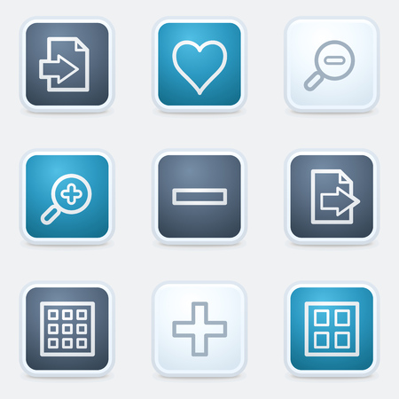 Image viewer web icon set 1, square buttons Vector