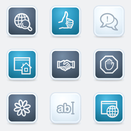 Internet web icon set 1, square buttons Vector
