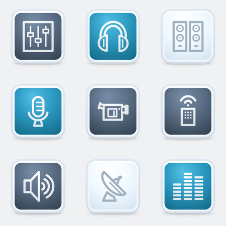 set square: Media web icon set, square buttons