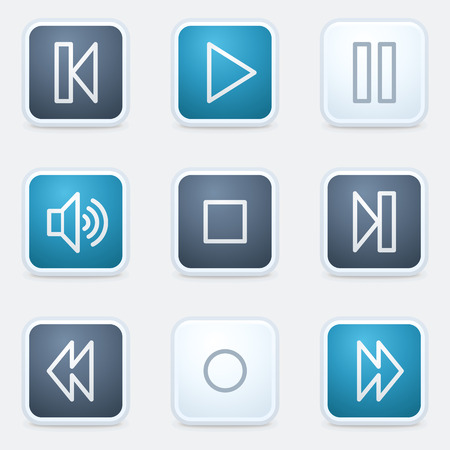 set square: Media player web icon set, square buttons