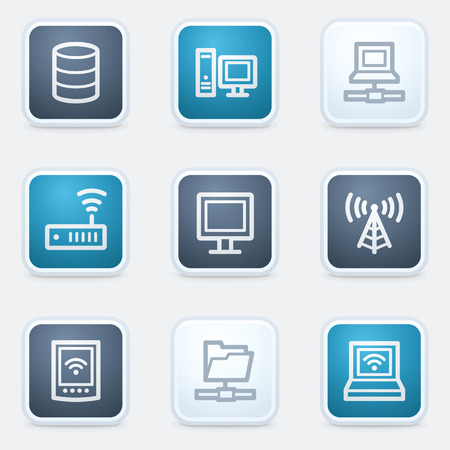 Network web icon set, square buttons Illustration