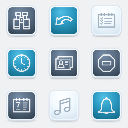 Organizer web icon set, square buttons Vector