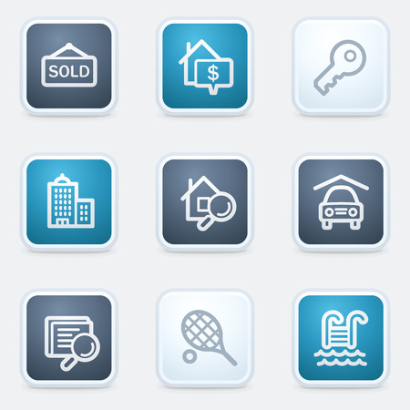 swimming pool home: Real estate web icon set, square buttons