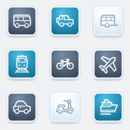 air liner: Transport web icon set, square buttons