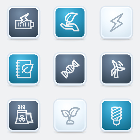 Ecology web icon set 5, square buttons Vector