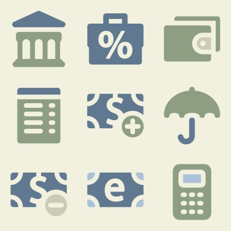Finance web icons money color set Vector