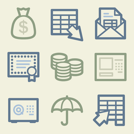 Banking web icons, money color set Vector