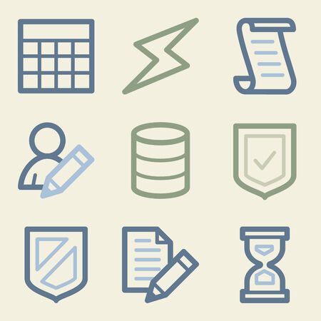 Database web icons, money color set Vector