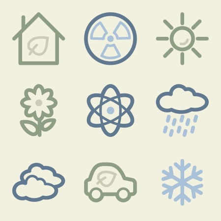 Eco web icons, money color set Vector