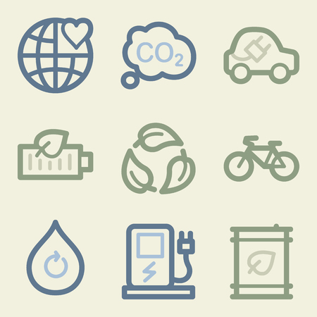 electro world: Eco web icons, money color set