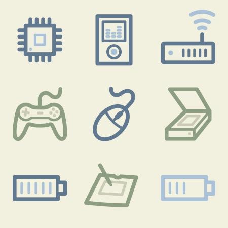 Electronics web icons, money color set Vector