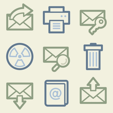 Email web icons, money color set