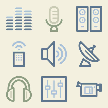 Media web icons, money color set Vector
