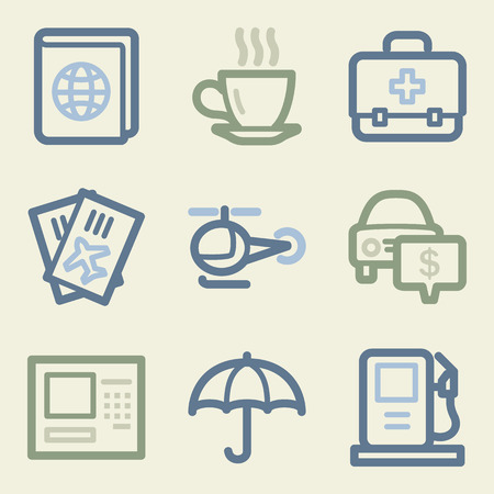 Travel web icons, money color set Vector
