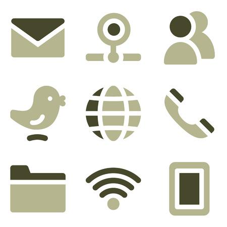 webcamera: Communication web icons, olive set Illustration