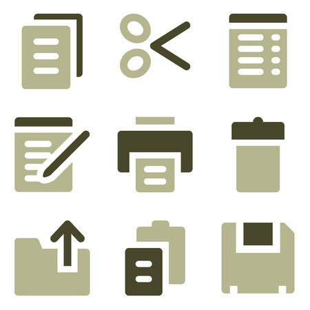 Document web icons, olive set Vector