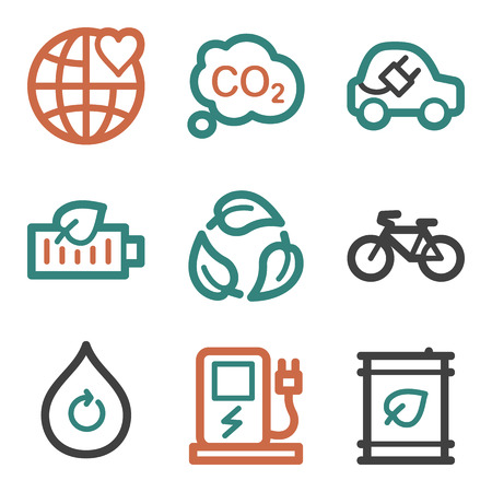Ecology web icons, contour series