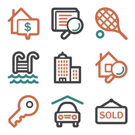 Real estate web icons, contour series Illustration
