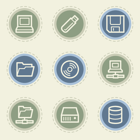 fdd: Drives and storage web icon set, vintage buttons