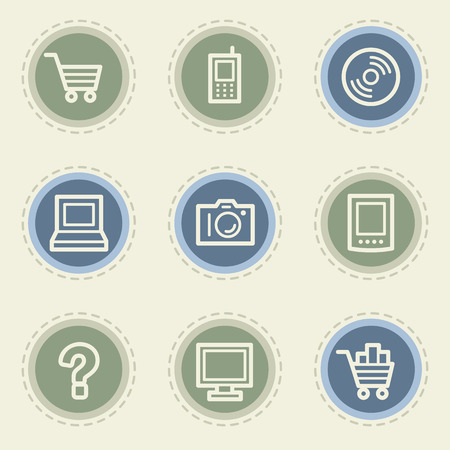 Electronics web icon set 1, vintage buttons Vector