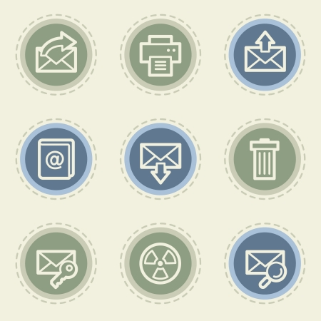 webmail: Email web icon set 2, vintage buttons