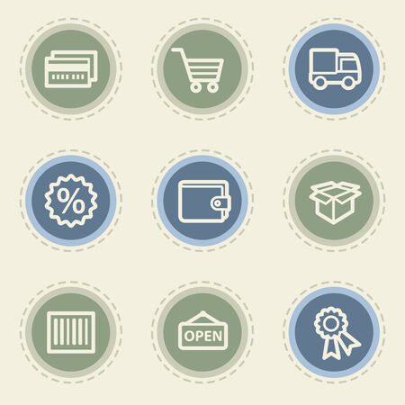 Shopping web icon set 2, vintage buttons Vector