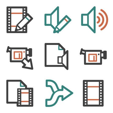 edit: Audio video edit web icons, contour series