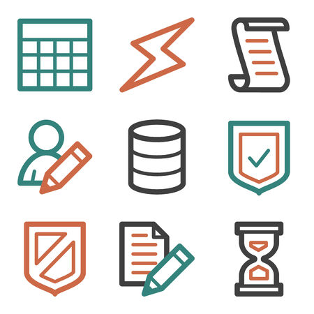 Database web icons, contour series Vector