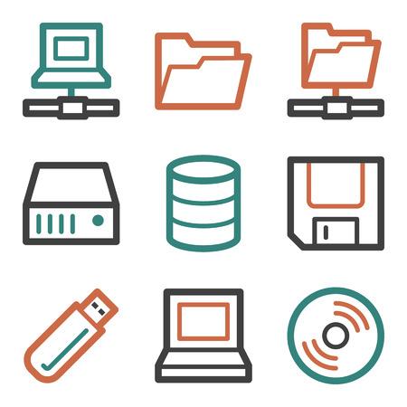 fdd: Drive storage web icons, contour series