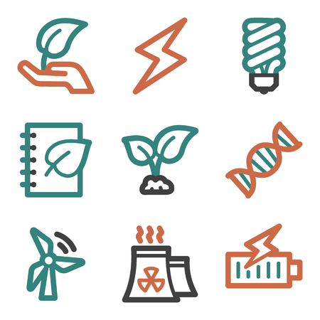 Ecology web icons, contour series Vector