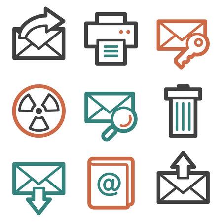 webmail: E-mail web icons, contour series Illustration