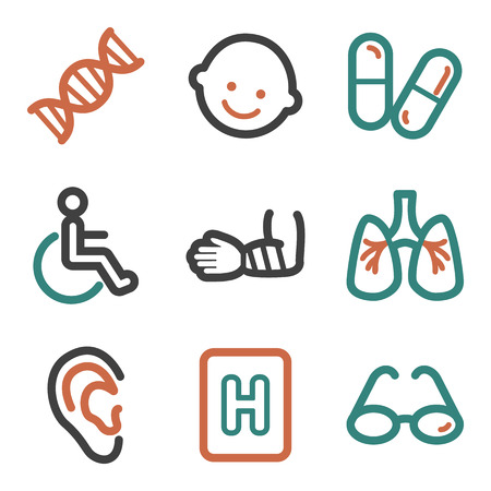 Medicine web icons, contour series Vector