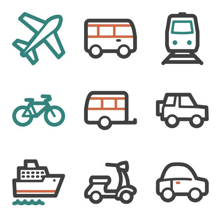 air liner: Transport web icons, contour series