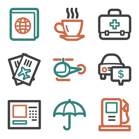Travel web icons, contour series Vector
