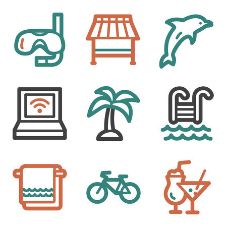 Vacation web icons, contour series Vector
