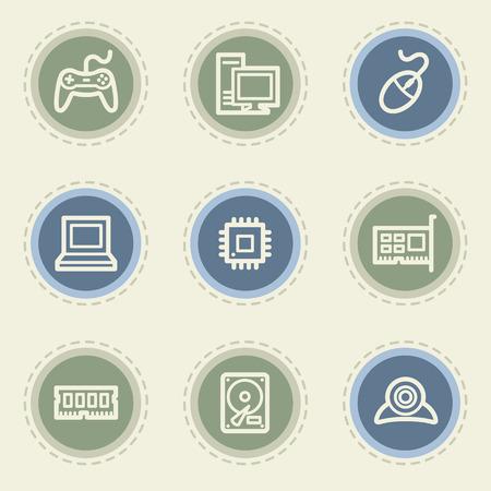 ddr: Computer web icon set, vintage buttons