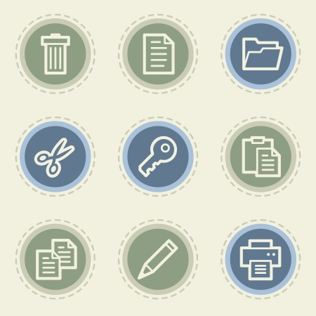 Document web icon set 1, vintage buttons Vector