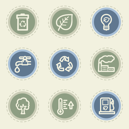 Ecology web icon set 1, vintage buttons Vector
