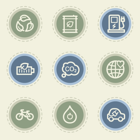 Ecology web icon set 4, vintage buttons Vector