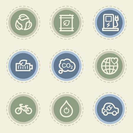 Ecology web icon set 4, vintage buttons Illustration